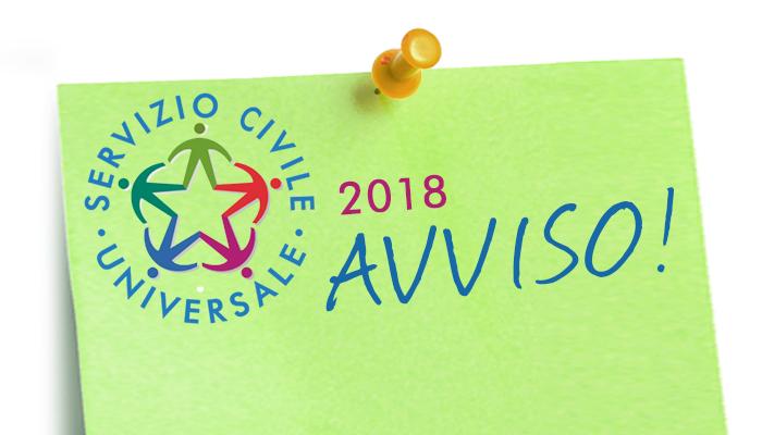 Bando Servizio Civile Universale 2018: Avviso di selezione per 88 volontari