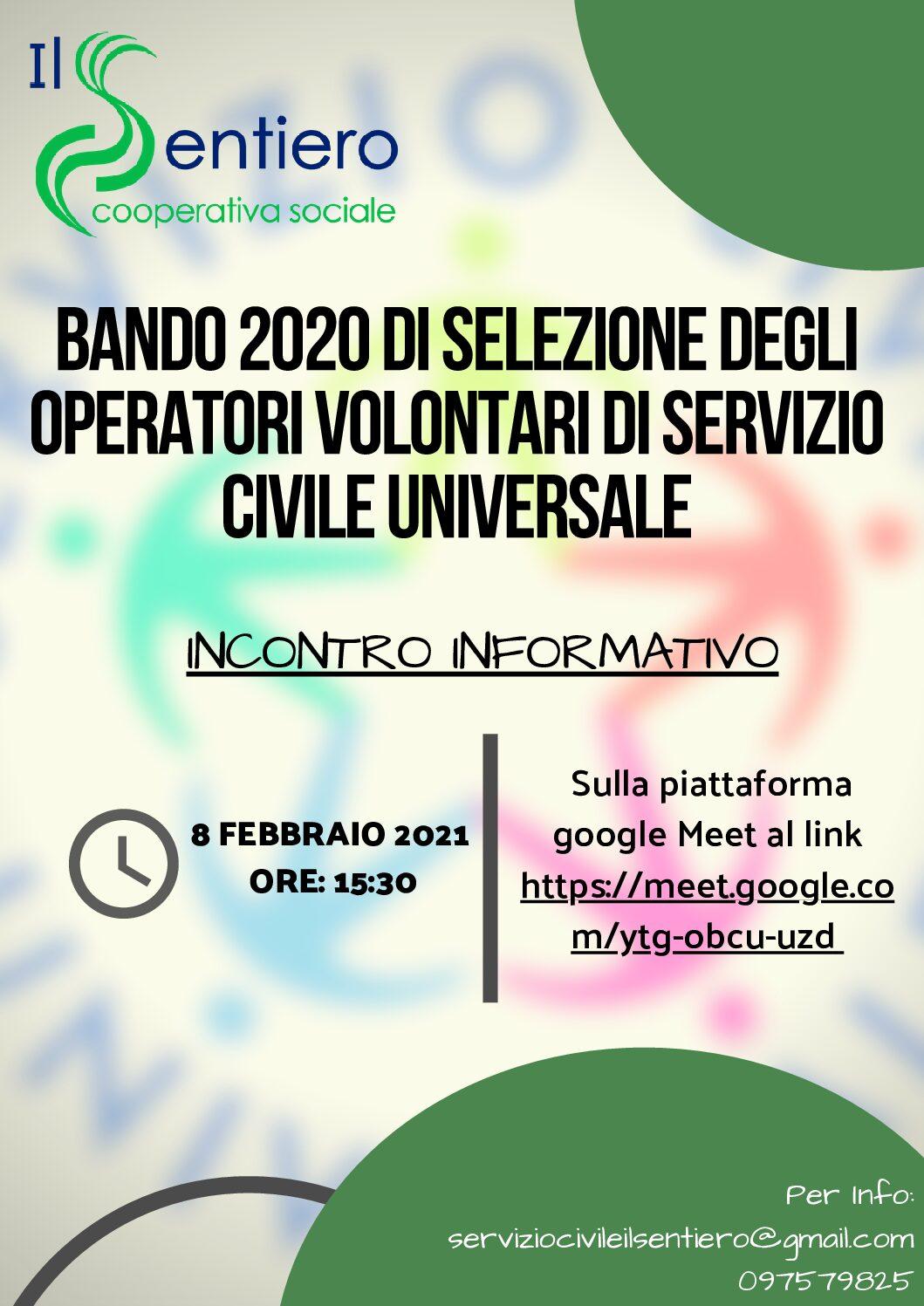 Bando Servizio Civile 2020- Incontro informativo
